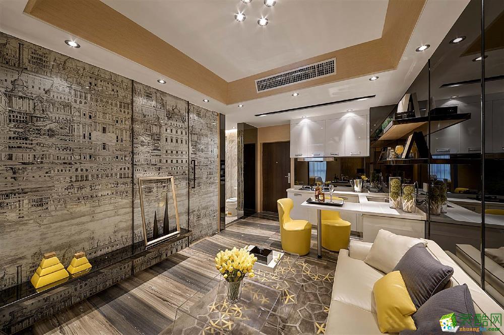 现代简约风格86平米三室两厅装修效果图--居众装饰