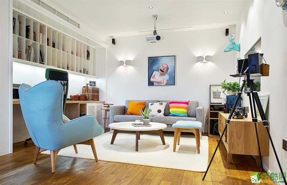 现代简约风格118平米三室两厅装修效果图--创美家装饰