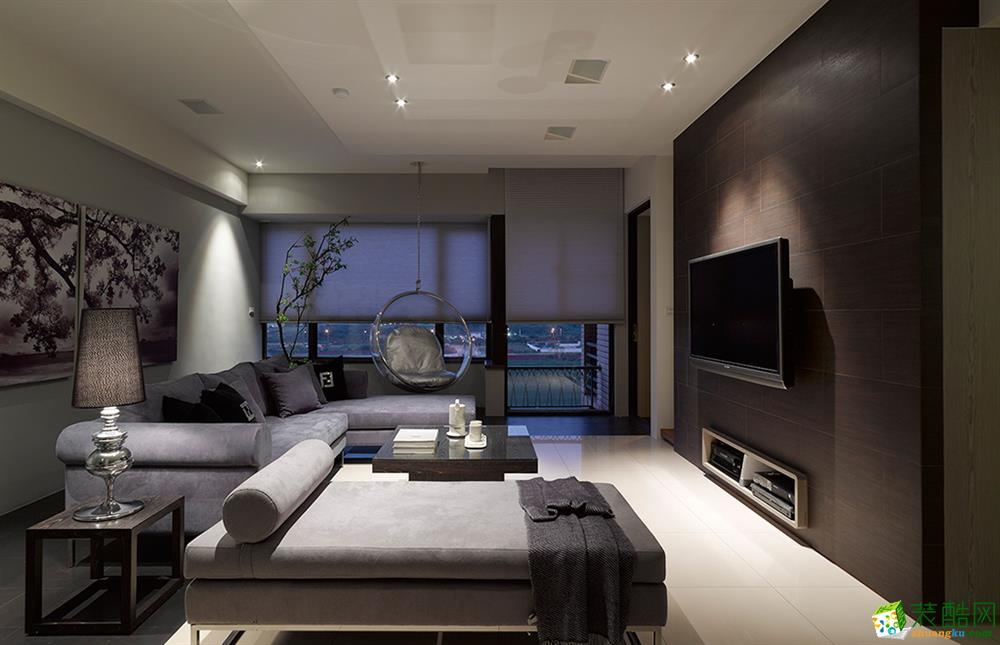 98平米现代简约风格两室两厅装修效果图--创美家装饰