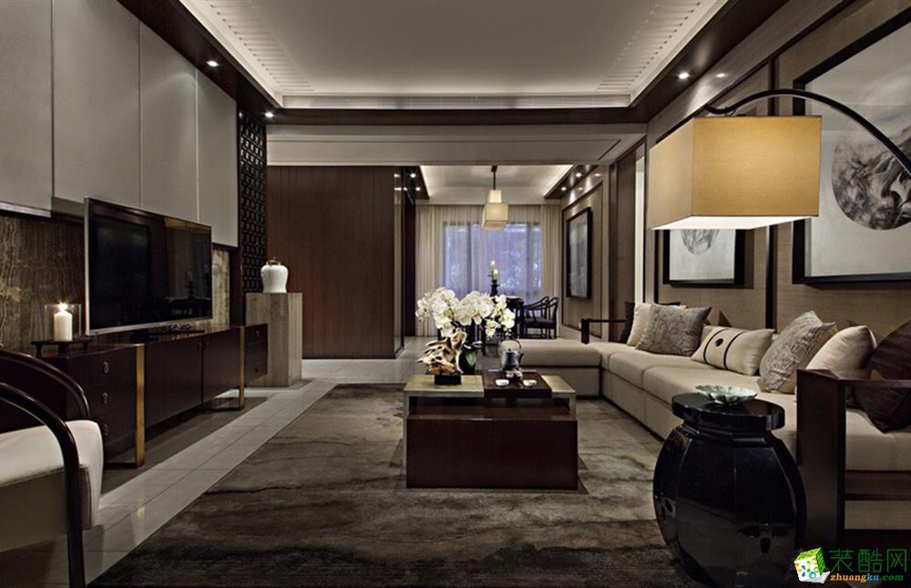 新中式风格128平米三室两厅装修效果图--万家和装饰