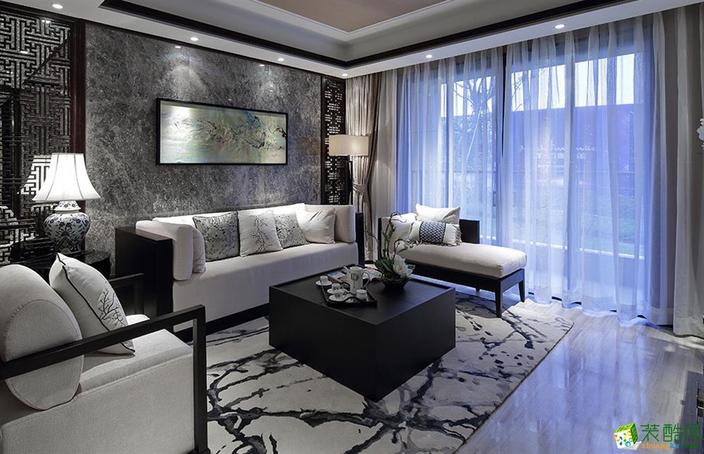 新中式风格143平米三室两厅装修实景案例图--万家和装饰