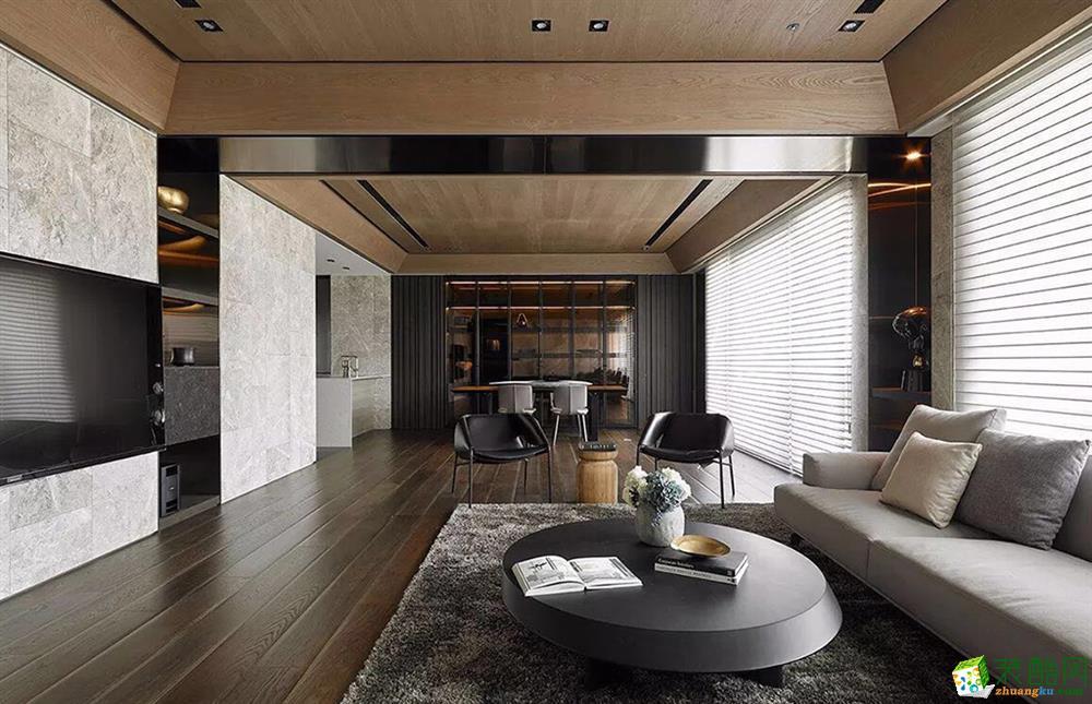 现代简约风格116平米三室两厅装修效果图--大中发装饰