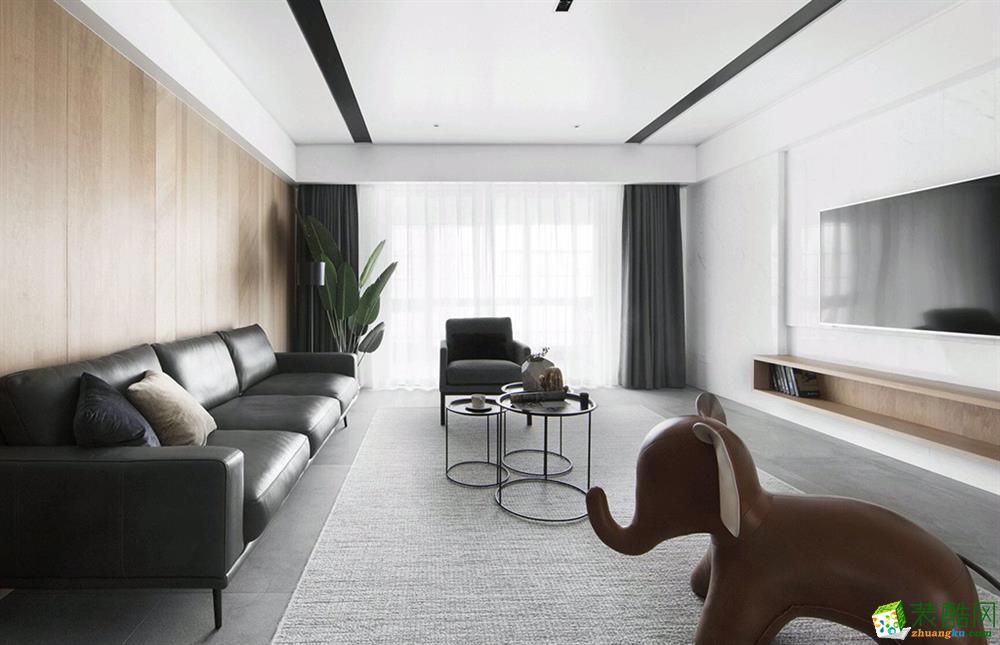 现代简约风格116平米三室两厅装修效果图---琅蜂装饰
