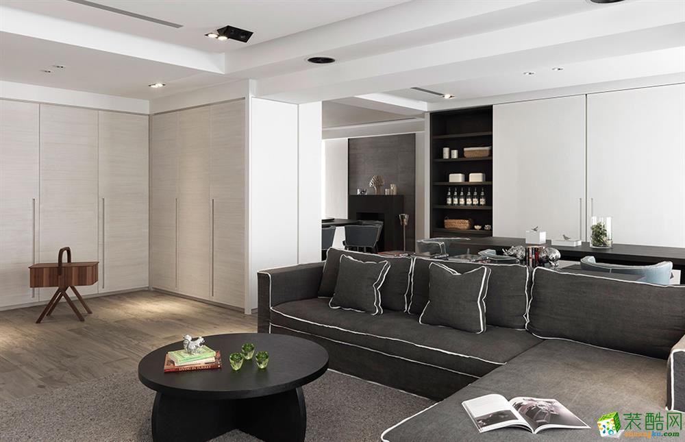 106平米现代简约风格三室两厅装修效果图--良美装饰