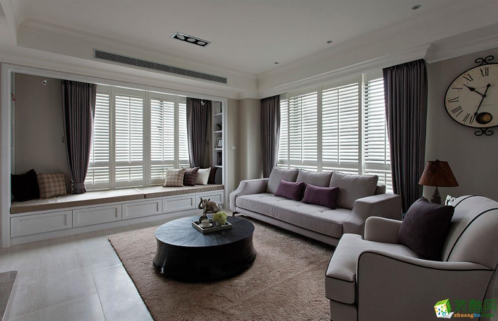 简美风格118平米三室两厅装修实景案例图--良美装饰