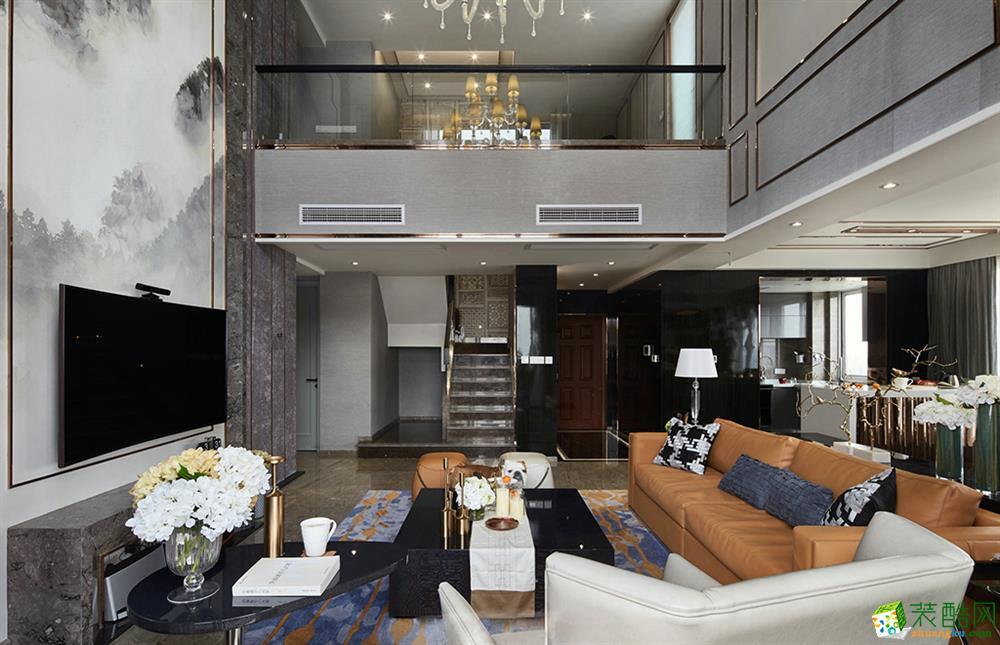 现代简约风格300平米别墅住宅装修实景案例图--天地和装饰