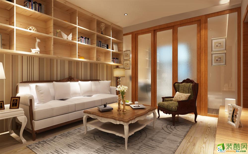 跃华宏安建筑装饰-九溪半岛美式两居室装修效果图