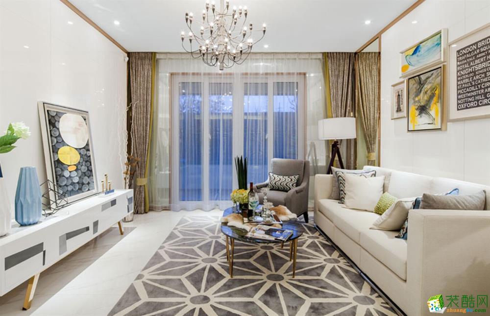 现代简约风格86平米两室两厅装修效果图--居之家装饰