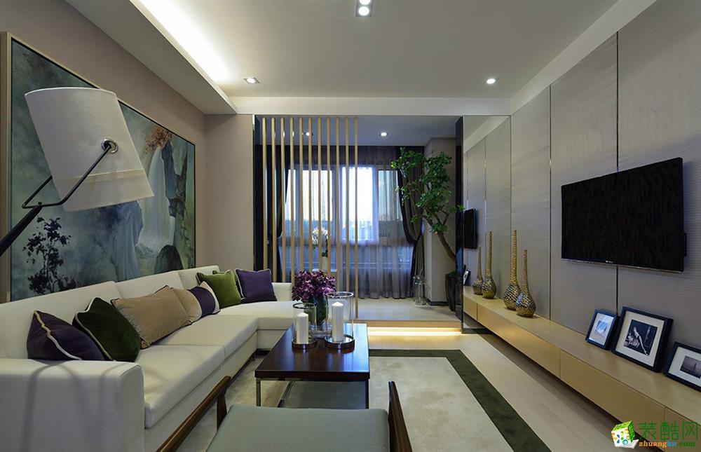 新中式风格92平米两室两厅装修实景案例图--领巢装饰