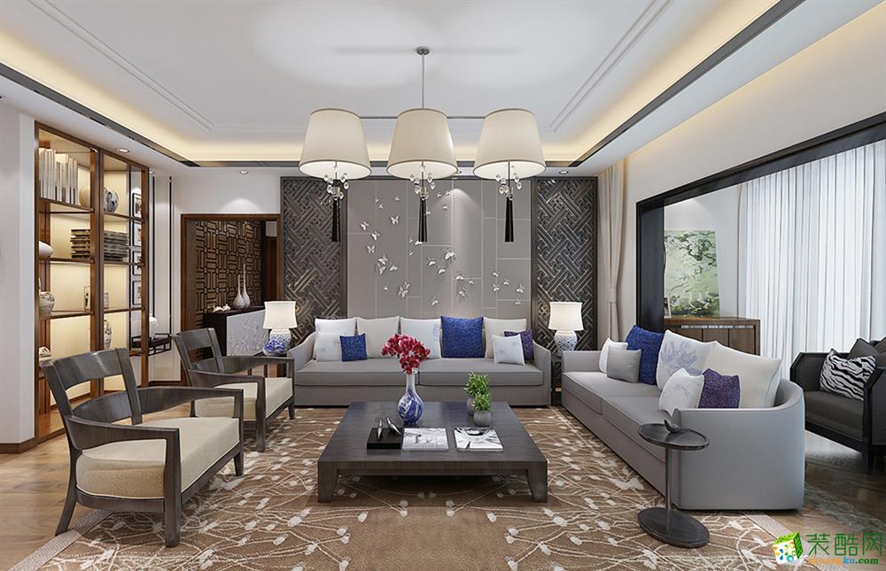 新中式风格138平米三室两厅装修实景案例图--楷模装饰