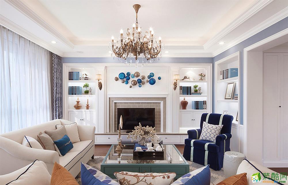 美式风格140平米三室两厅装修实景案例图--楷模装饰