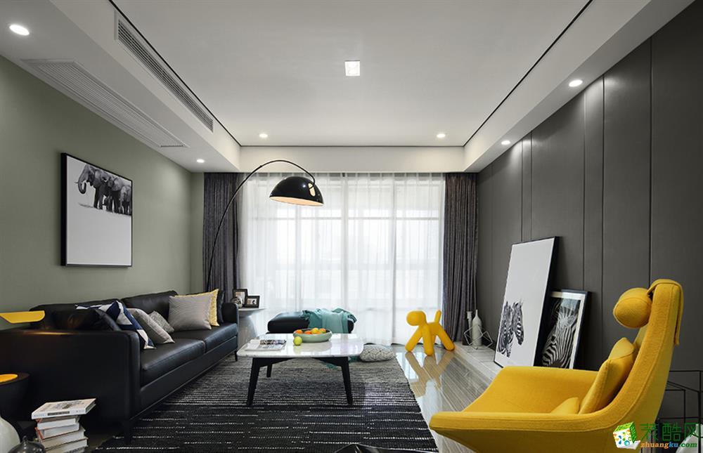 现代简约风格106平米三室两厅装修效果图--家和装饰