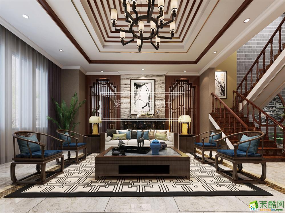 约克郡480平米中式风格别墅住宅装修实景案例图--紫苹果装饰