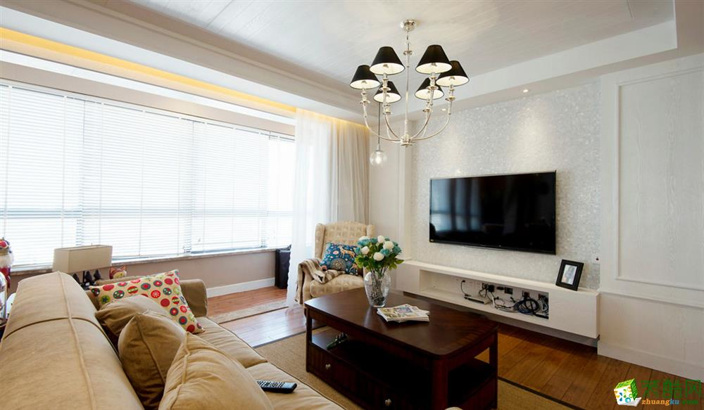 現代簡約風格106平米三室兩廳裝修效果圖--華寧裝飾