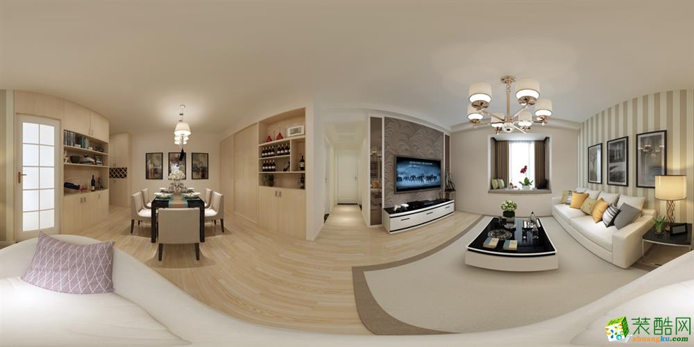 长沙美迪装饰-恒大名都现代简约两居室装修效果图