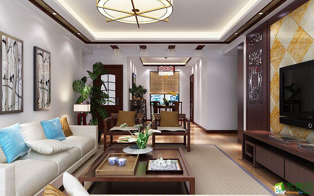 现代中式风格109平米四室两厅装修效果图--喜匠装饰