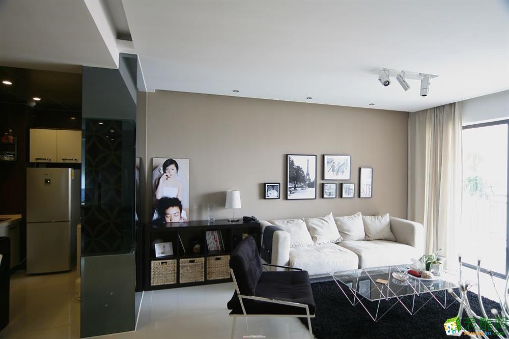 现代简约风格91平米两室两厅装修效果图--靓家居装饰