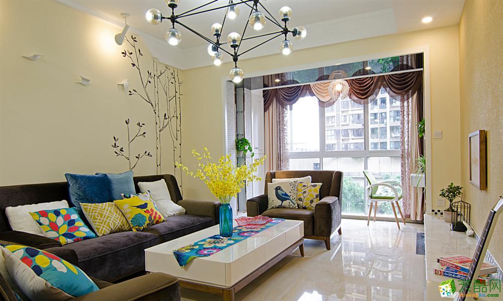 现代简约风格117平米三室两厅装修实景案例图--星艺装饰