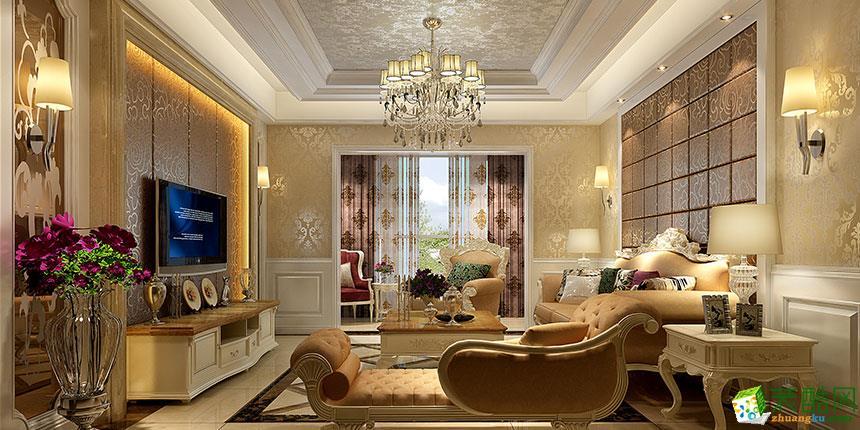 欧式风格106平米三室两厅装修效果图--九木堂装饰