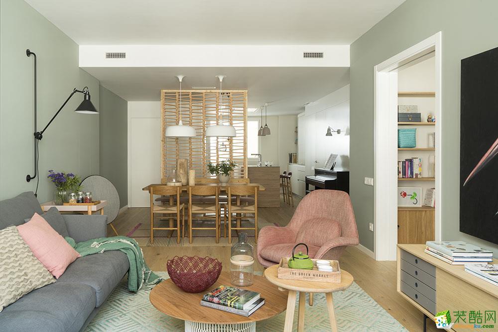 康桥融府95平现代风格三室装修实景案例图赏析--九方空间设计