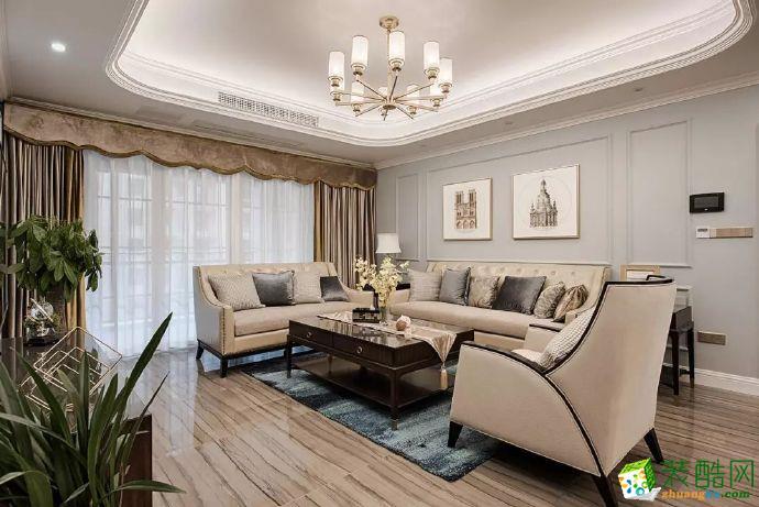北大资源博雅100平米美式风格三室两厅装修实景案例图赏析--佳天下装饰