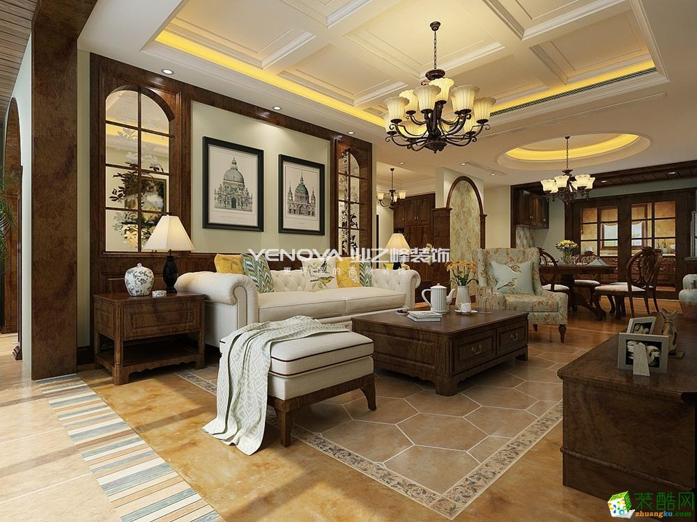 两江新宸198平米美式风格四居室装修实景案例--业之峰装饰