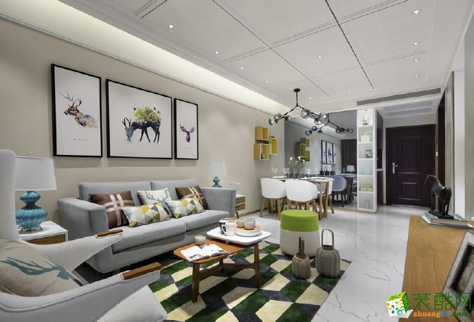 龙湖U城112平米现代风格三室两厅装修效果图--佳天下装饰