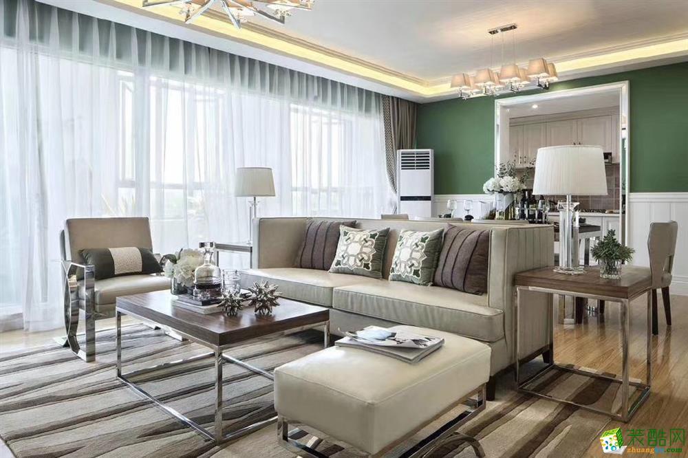 客厅  120�O现代美式混搭风家居装修