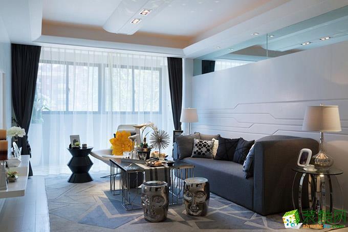 现代简约风格118平米三室两厅装修实景案例图--装品荟装饰