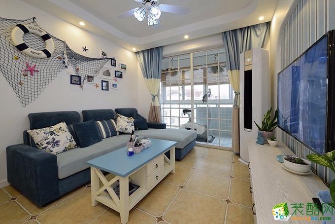 地中海风格73平米两室两厅装修实景案例图--装品荟装饰