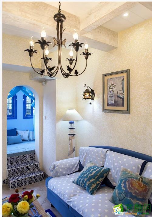 客厅  闽东装饰样板间70平蓝白地中海二室 在家遐想爱琴海
