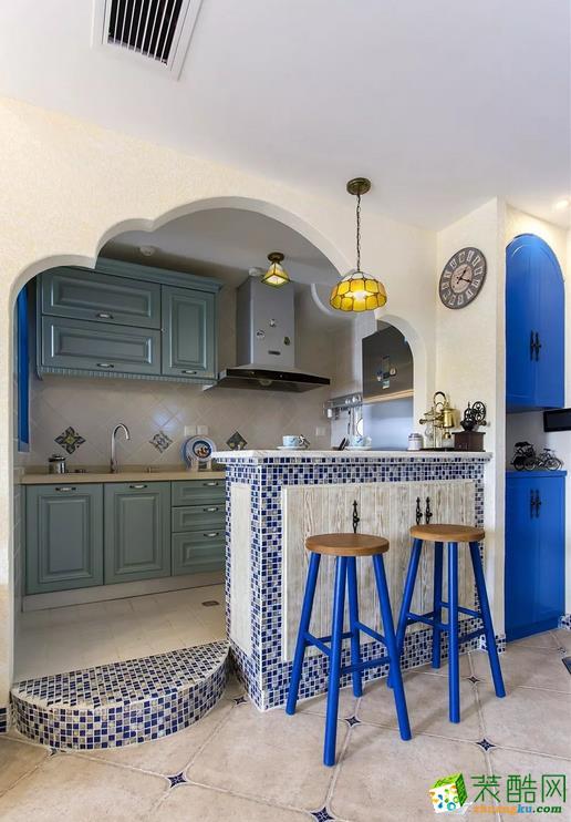 厨房  闽东装饰样板间70平蓝白地中海二室 在家遐想爱琴海