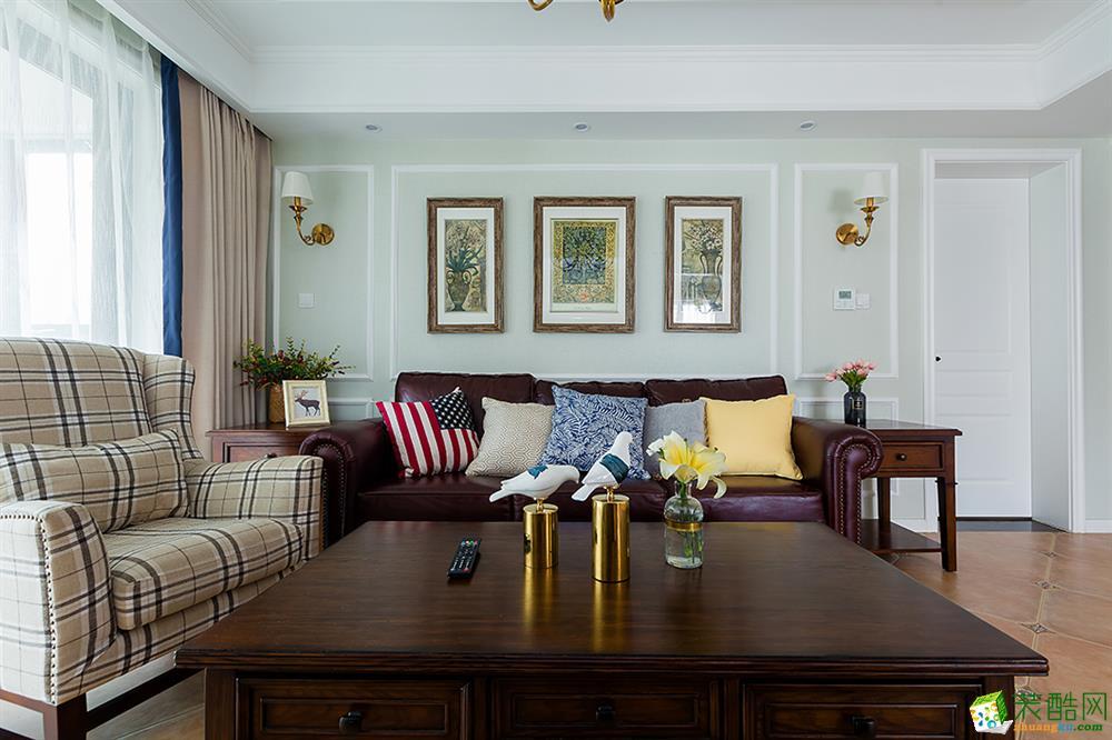 都都装饰-彩虹城120方美式风格三室两厅装修效果图