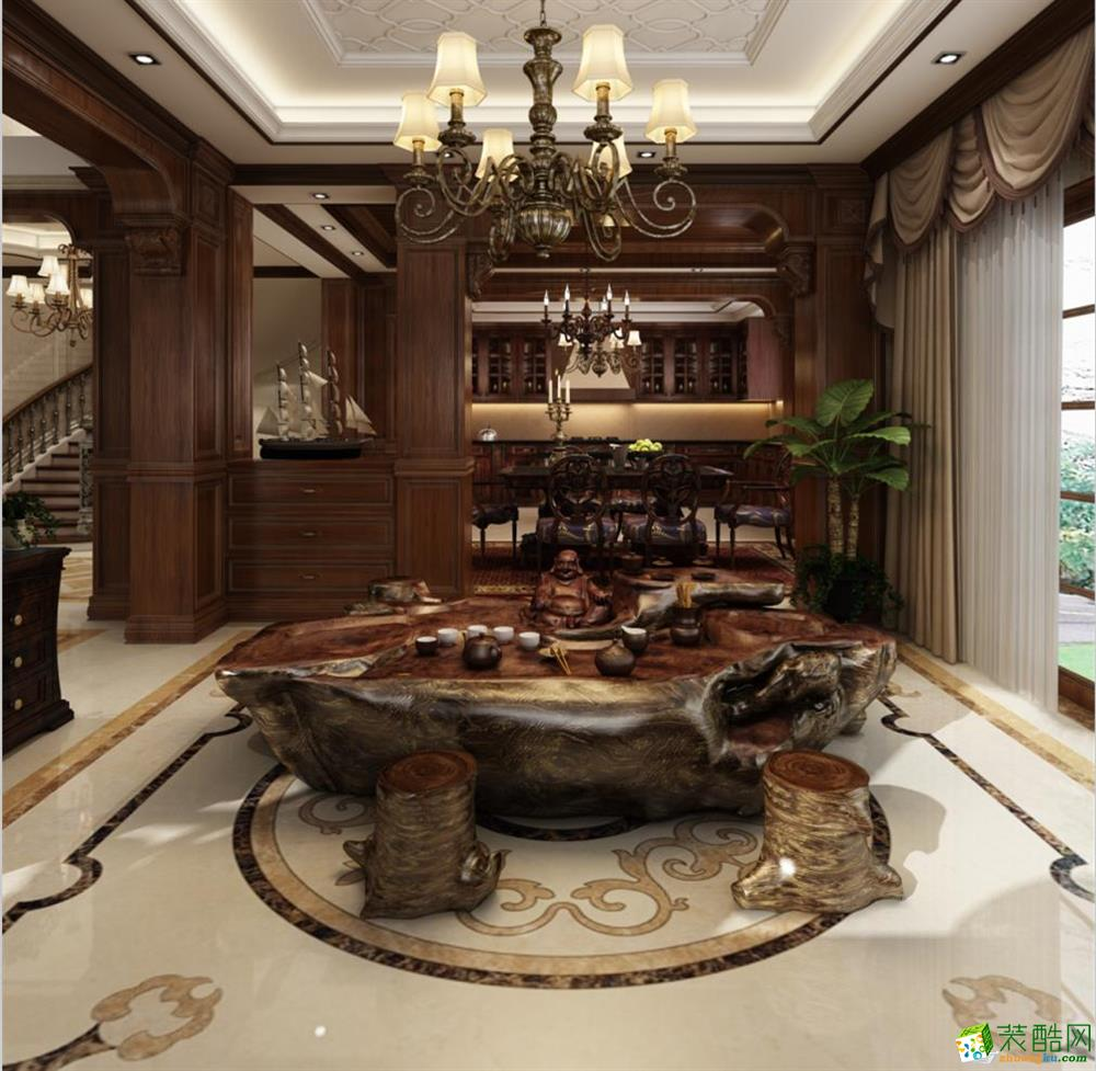 佘山银湖独栋别墅380平米美式古典风格装修案例图--腾龙设计