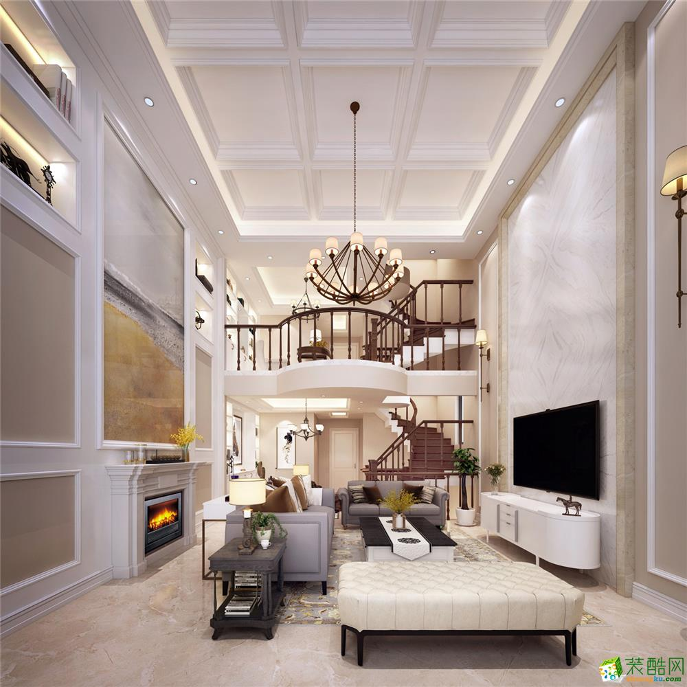 上海臻水岸类独栋别墅385平米美式风格项目装修设计案例图--腾龙设计