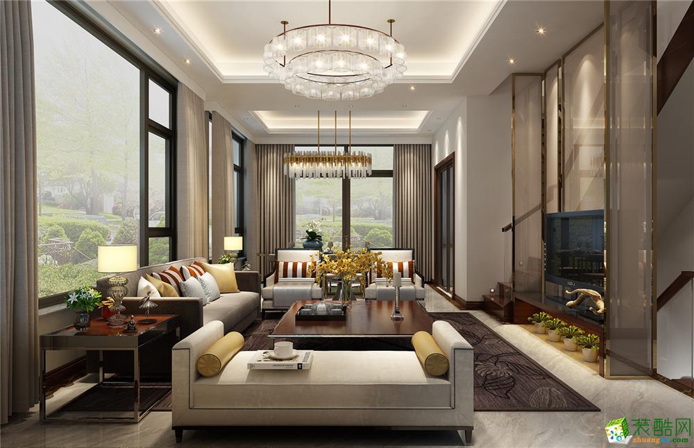 >> 华贸东滩花园250平联排别墅现代风格装修设计效果图--腾龙设计