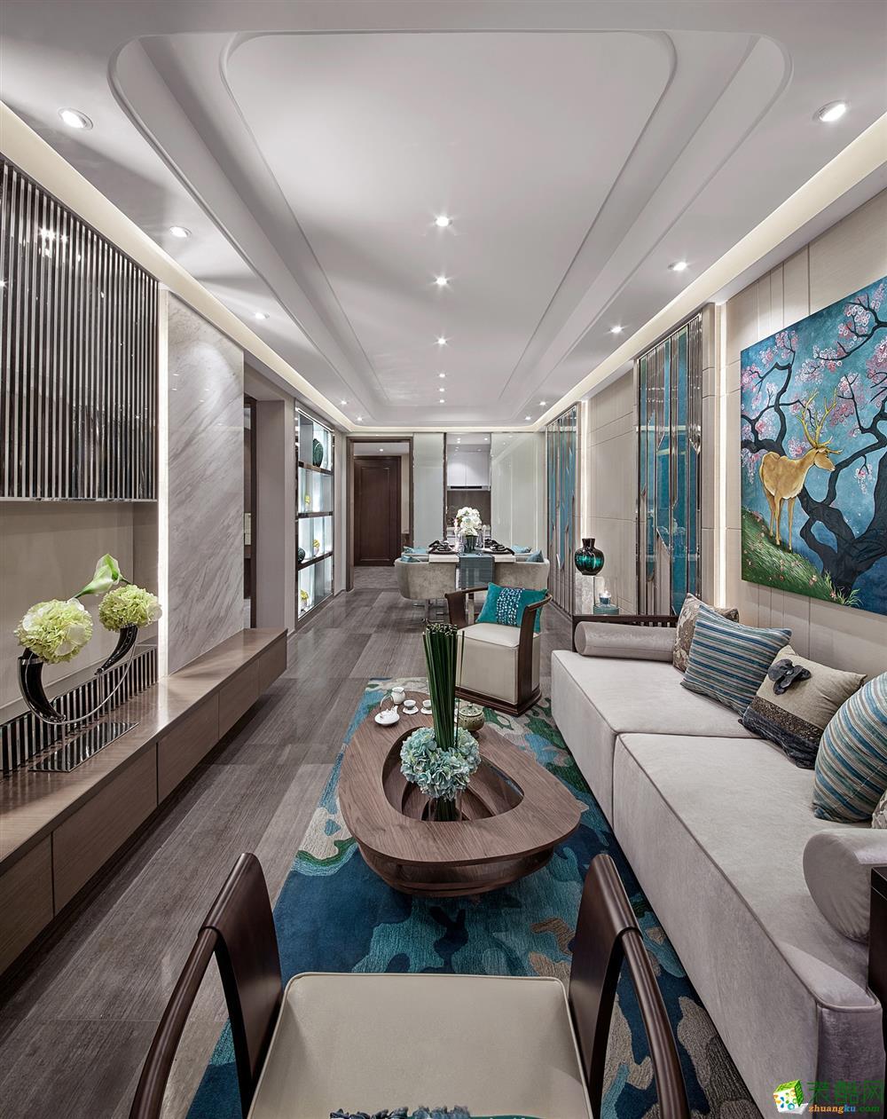 客厅  99�O新中式家居装修