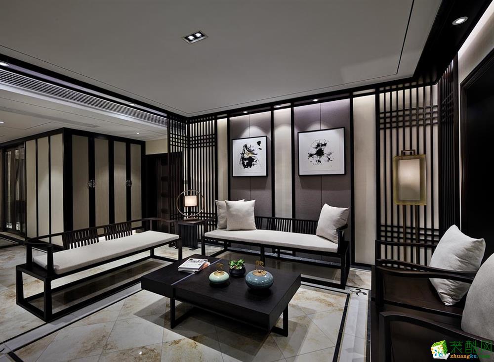 【众意装饰】首创万卷山103平米中式风格三室一厅装修实景案例图