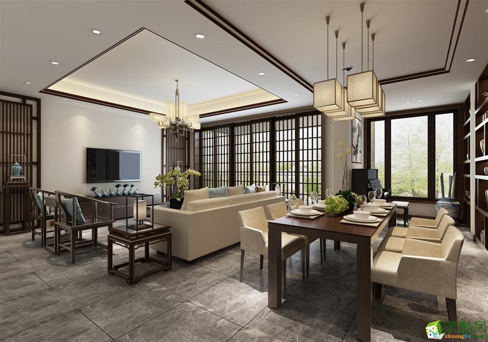 【上宸宅配】新中式风格113平米三室两厅装修案例效果图
