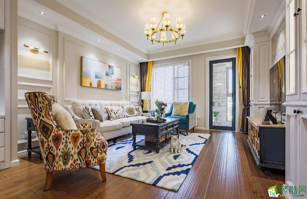 客厅 天宫花城120平米美式风格三室两厅装修实景案例图赏析--佩奇装饰 天宫花城