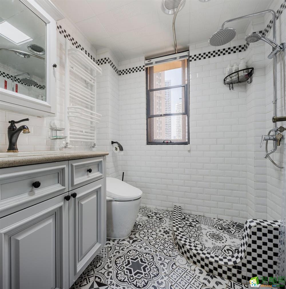 卫浴 天宫花城120平米美式风格三室两厅装修实景案例图赏析--佩奇装饰 天宫花城