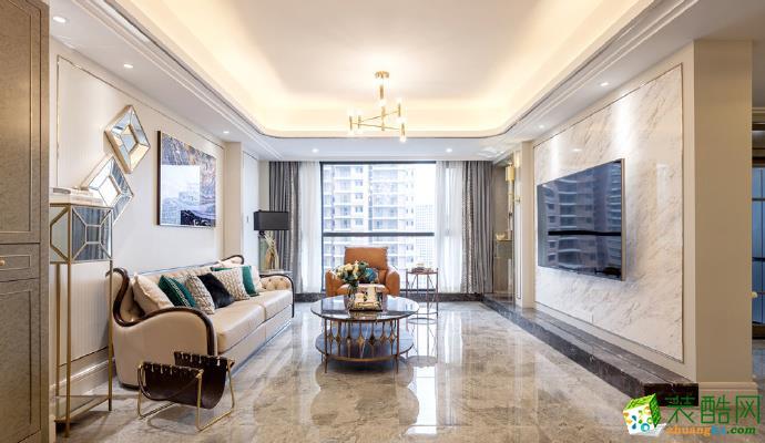 现代轻奢风格120平米三室两厅装修案例效果图--美信装饰
