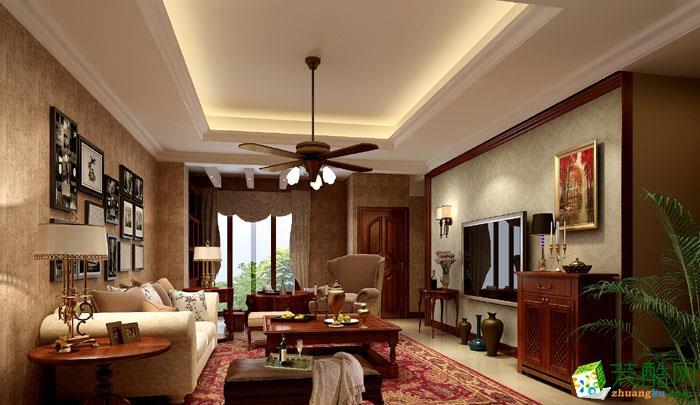 >> 业之峰--江与城105平米欧式风格三室两厅装修案例效果图