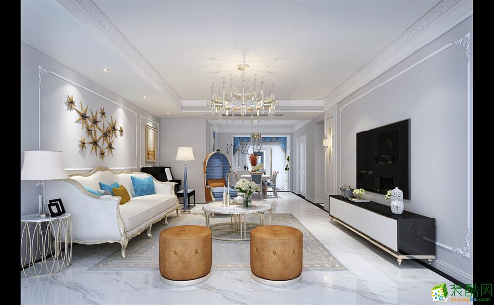 華僑城160平米法式風格三居室裝修案例效果圖--朗潤裝飾
