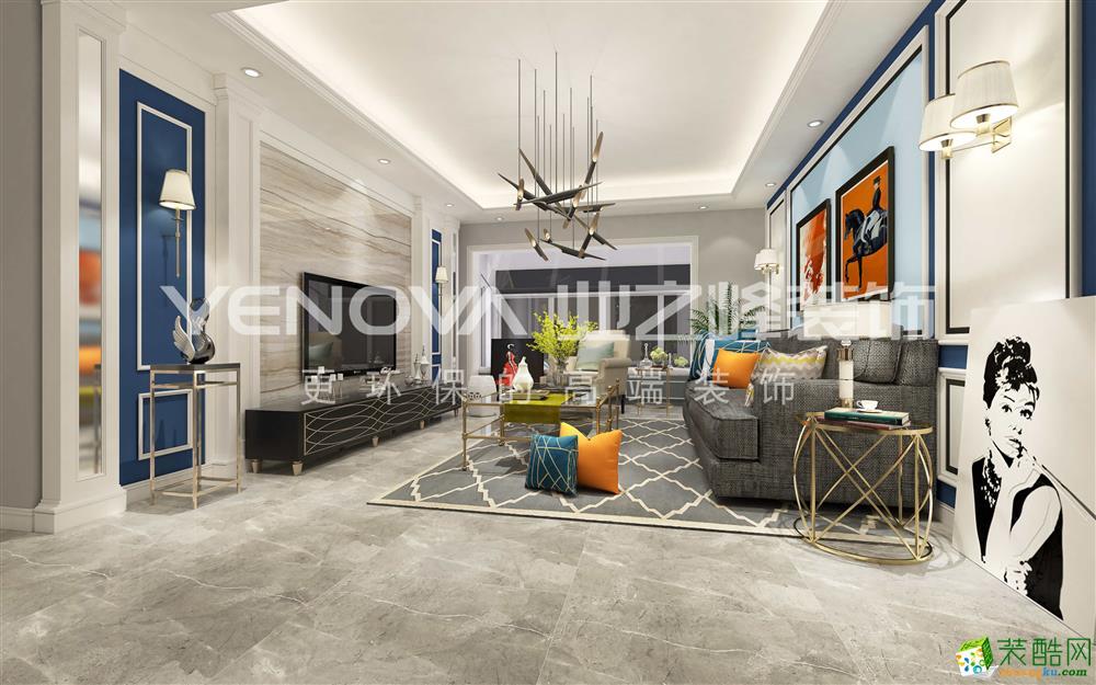 荣和大地120方四室两日内个美式风格装修效果图