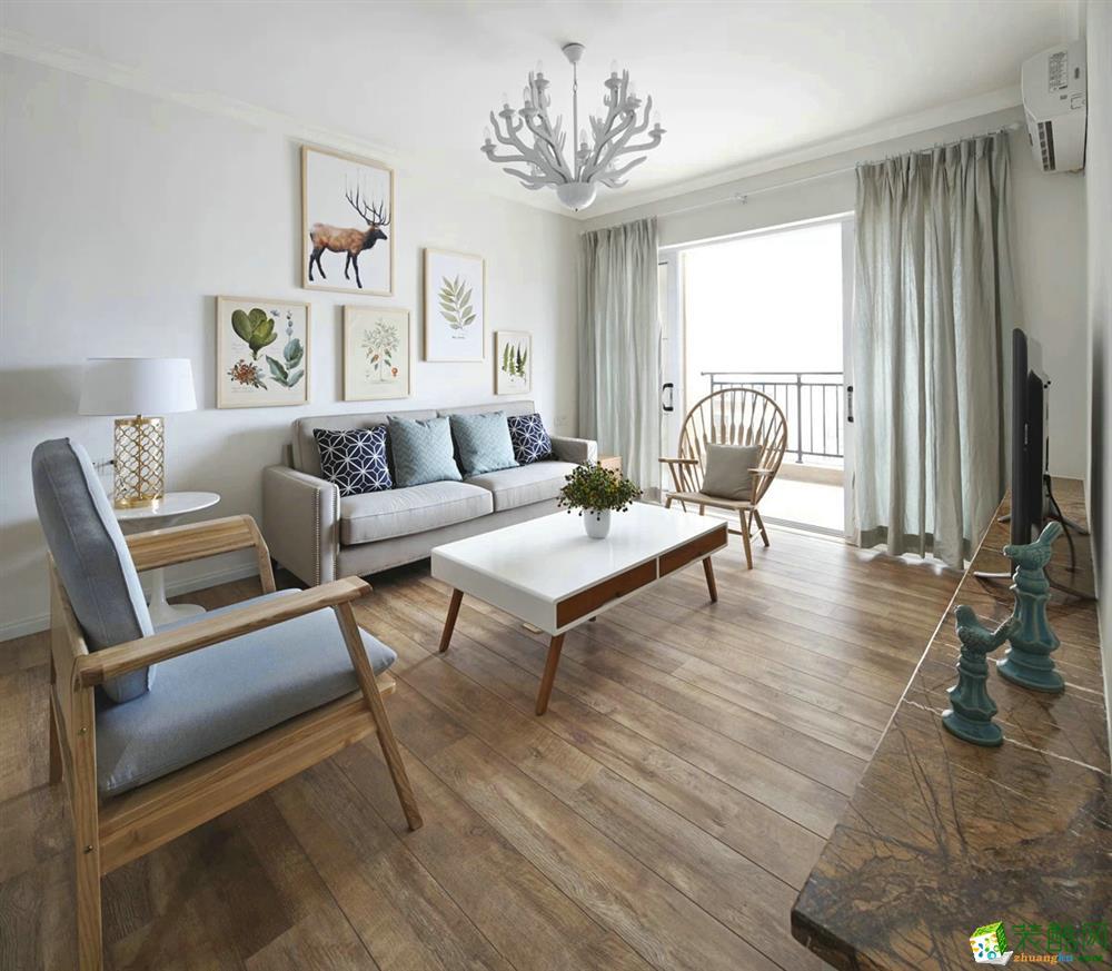 客厅  天盛华山珑城原木色系案例