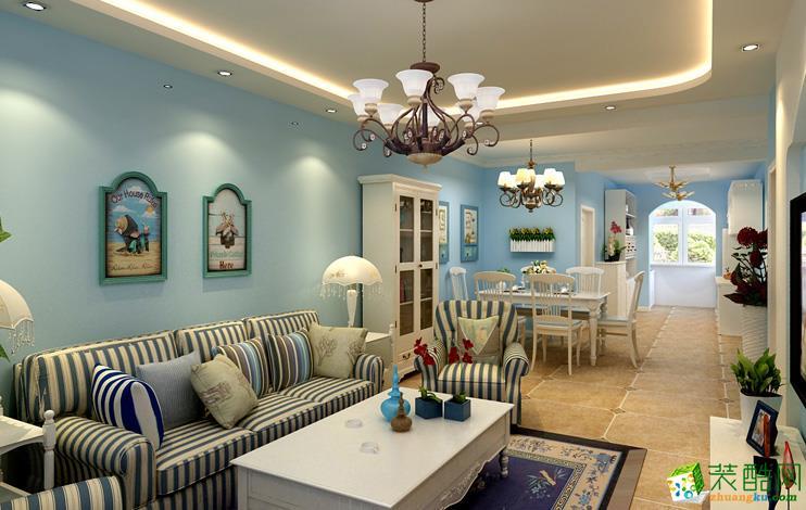 地中海风格120平米三室两厅装修案例图--万京装饰