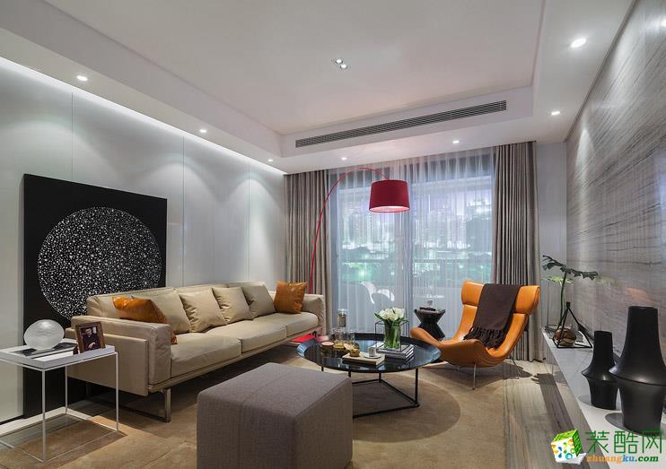 现代风格130平米三室两厅装修案例效果图--万京装饰