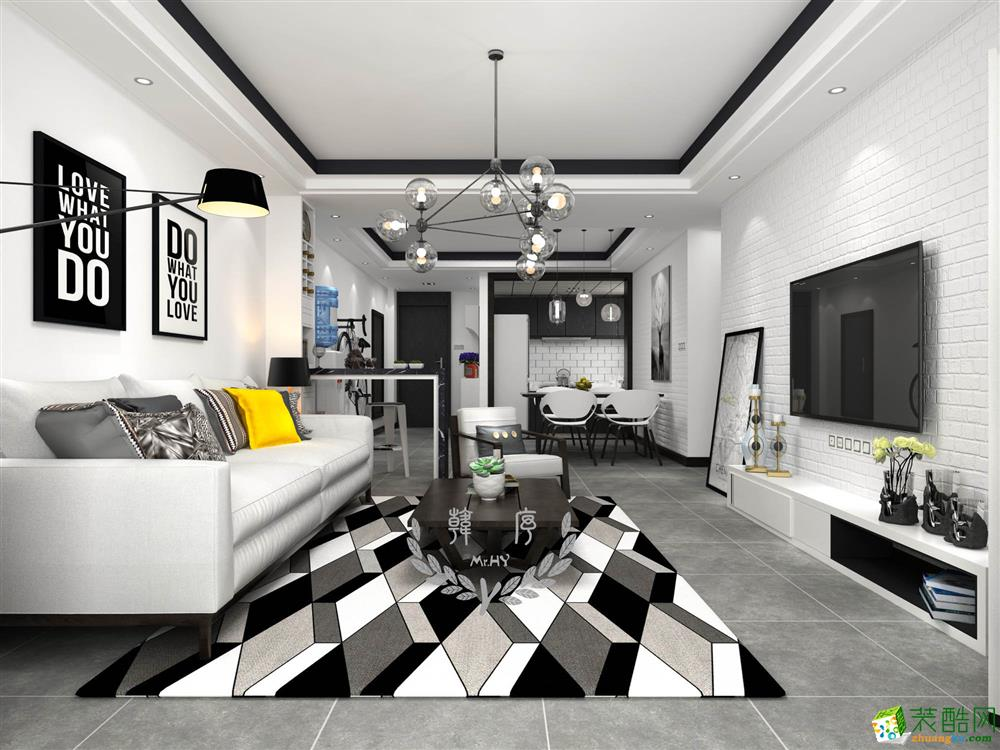>> 水錦花都85平米現代簡約風格兩居室裝修案例效果圖--印象裝飾