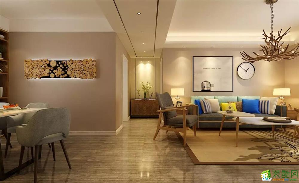 【忆想家装饰】115�O三室两厅现代简约装修效果图